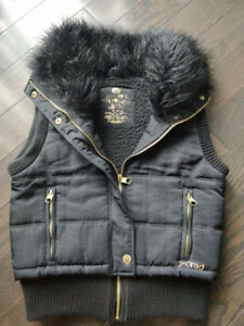 Women's Ecko Red Black & Gold Vest Size Small / Faux Fur Collar