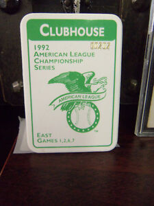 RARE 1992 AMERICAN LEAGUE CHAMPIONSHIP SERIES CLUBHOUSE PASS