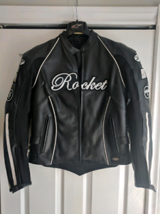 Women's leather jacket and helmet