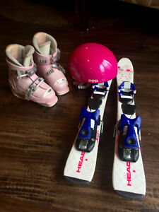 Kids skis, boots, bindings, helmet