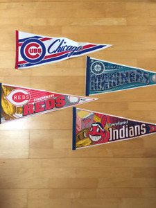 Vintage Baseball Pennants Indians Cubs Reds Mariners