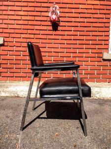 Fauteuil Retro Vintage Chrome Cuirette Noir