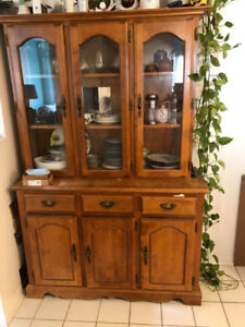 Old Wood Buffet Hutch looking for new home and TLC