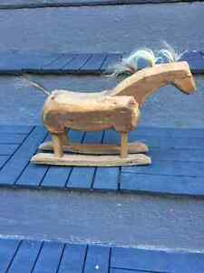 FOLK ART - HAND CARVED HORSE WITH HORSE HAIR West Island Greater Montréal image 2