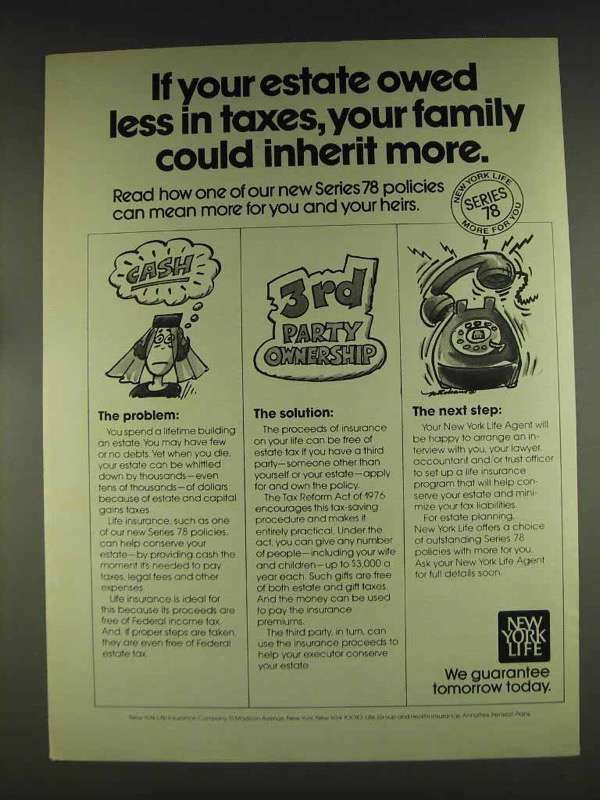 1978 New York Life Insurance Ad - Owed Less in Taxes