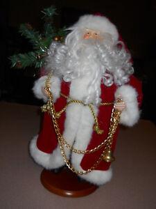 Santa Figure 16 inch Porcelain head and hands, chain,bells