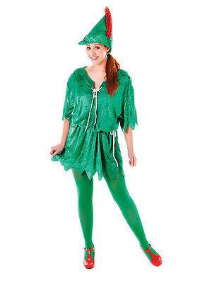 Ladies Green Elf Costume Peter Pan Robin Hood Adult Unisex Fancy Dress - Peter Pan Ladies Costume