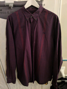 5 Fred Perry Long-Sleeve Button Up Shirts - XL