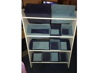 Baby nursery storage unit for changing station w/ blue removable boxes