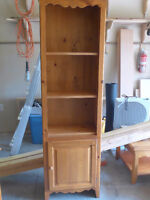 Solid pine bookcase, coffee table and end table