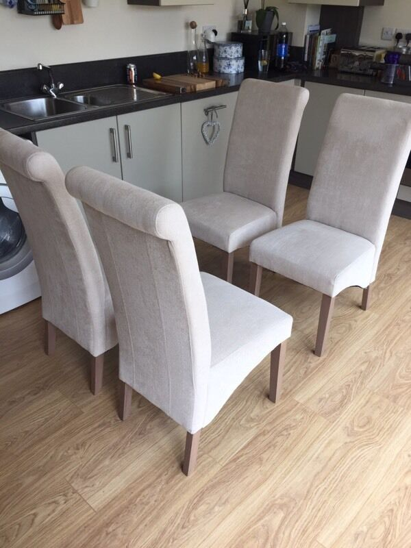 Next Set Of 4 Harlow Dining Room Chairs In Belgian Soft Twill Light Natural