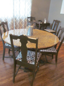 GORGEOUS GRANITE TABLE 6 REFINISHED ANTIQUE CHAIRS - GREAT PRICE