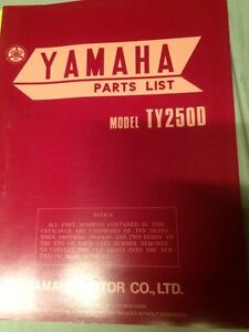 1977 Yamaha TY250D Parts List Regina Regina Area image 1