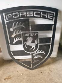 Porsche Big Steel Badge Sign Plaque