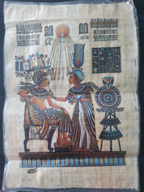 XL Egyptian Hand Painted Papyrus Paper - Signed and Certificate NEW