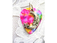 NEW PRETTY IN PINK ENAMEL CELESTIAL ANGEL WING WITH CRYSTAL PENDANT ADJ NECKLACE