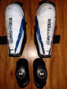 Youth Easton Hockey shin pads and Komo 4410 comfort elbow pads