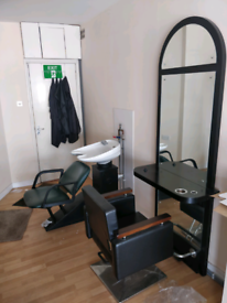 Salon equipment cutting station wash basin and 2 massage bed