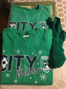 2 Halifax City Soccer Practice Shirts & 1 Pair of Green Socks