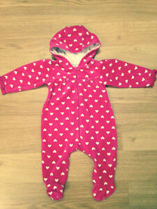 Pink and white hooded sleeper