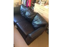 Black leather sofa (2 seater)