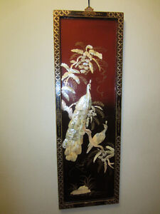 Chinese Wall Plaque, Black Lacquer & Mother of Pearl,Rectangular