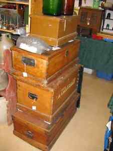 Antique Pine Tool Boxes, Orphans Box, and Sample Box