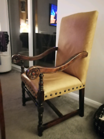 Vintage style Oak-Framed Leather Chair