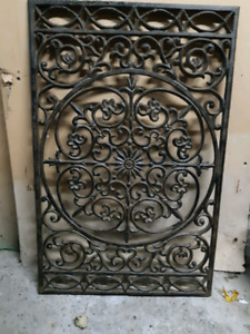 Vintage Architectural Salvage Cast Iron Grate 28 x 18 inches