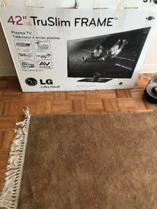 LG 42 inch Plasma TV with Black Metal Tempered Glass TV stand