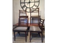 Set of 4 solid Teak Mid Century Retro dining chairs
