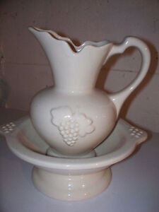 pitcher and attached bowl
