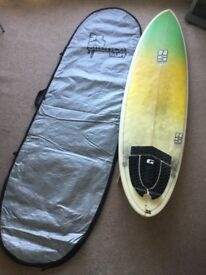 """6'10"""" NS Surfboard and bag"""