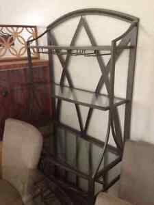 Metal and glass hutch with wine bottle storage