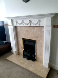 For sale gas fire complete with marble hearth and wooden fire surround