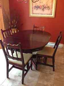 Cherry finish table and chairs