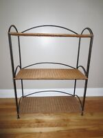 Antique Wicker Book shelf or Plant Stand , srong metal frame