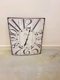 "Stunning metal large wall clock 28""x 22 inches"