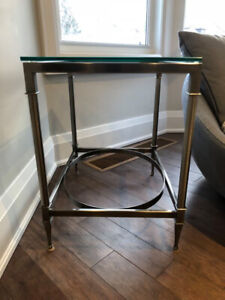 Coffee Table & Side Table with Glass Tops
