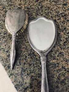 Antique silver brush and mirror set