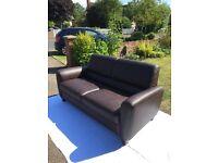 2.5 seater dark brown leather sofa