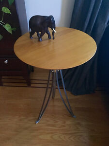 Midcentury Solid Wood Top Side Table