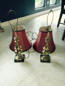 2 Brass Lamps & Marble Table Lamps - Brampton