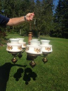 Antique Brass Wagon Wheel Chandelier & Matching Wall Lights