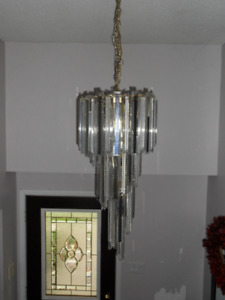 Acrylic Prism and Glass Cascade Chandelier