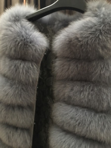 REAL Fox Fur coat vest with adjustable zippers at bottom
