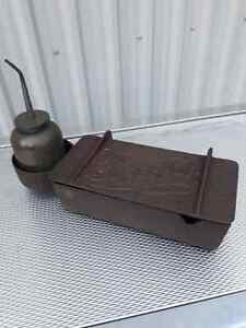 FARM PRIMITIVE: THE  SUPERIOR CAST IRON TOOL BOX/OIL CAN HOLDER