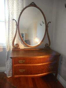 Antique Oak Bow Front Dresser with Tilting Mirror
