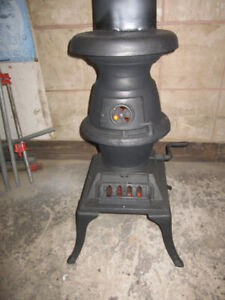 WORKING REBUILT RESEALED POT BELLY CAST IRON WOOD STOVE