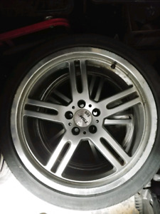 "4x  18"" TSW Indy 500  Silver 5 Spoke Wheel"
